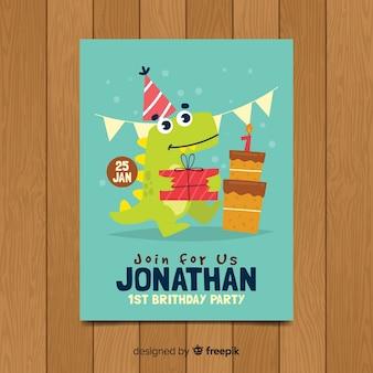 Plantilla adorable de invitación de primer cumpleaños