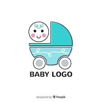 Plantilla adorable de logo de bebé con diseño plano