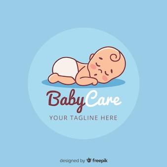 Plantilla adorable de logo de tienda de bebé con estilo moderno