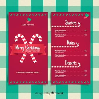 Plantilla adorable de menú de navidad con diseño plano