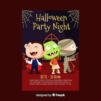 Plantilla adorable de póster de fiesta de halloween con diseño plano