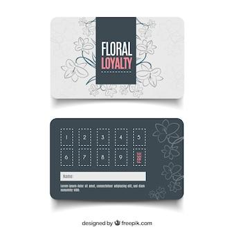 Plantilla adorable de tarjeta de cliente con estilo floral