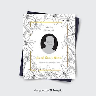 Plantilla adorable de tarjeta de funeral dibujada a mano