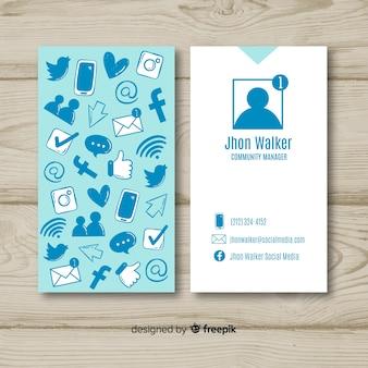 Plantilla adorable de tarjeta de visita dibujada a mano