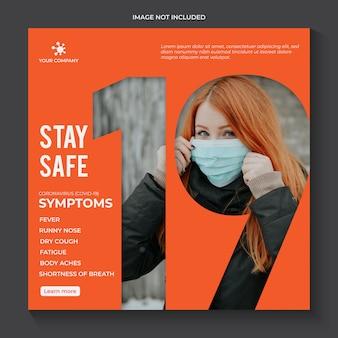 Plantilla de advertencia de prevención de covid-19 de coronavirus para redes sociales instagram premium