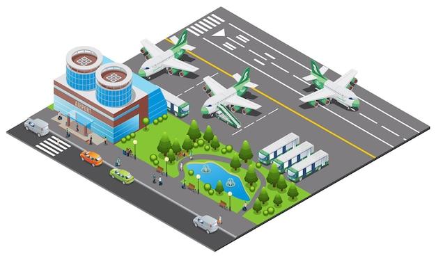 Plantilla de aeropuerto isométrica con construcción de aviones, proceso de embarque, autobuses, escalera, camión, pista, coches y parque