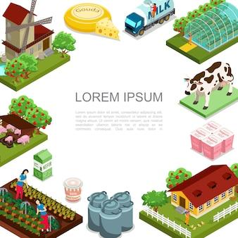 Plantilla de agricultura y ganadería isométrica con molino de viento animales productos lácteos casa manzanos camión de leche mujeres cosechando verduras