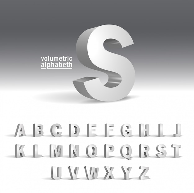 Plantilla de alfabeto 3d. diseño de alfabeto volumétrico