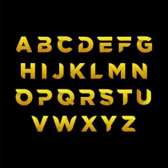 Plantilla de alfabeto dorado