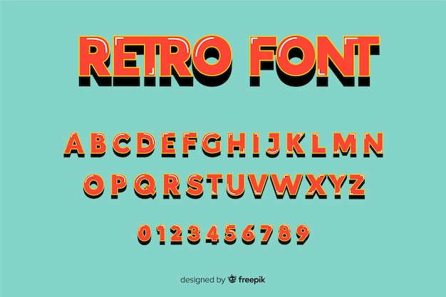 Plantilla de alfabeto retro estilo retro