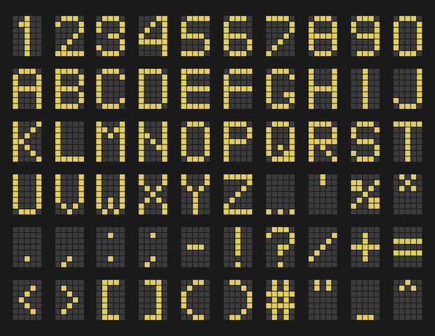 Plantilla de alfabeto verde de horario