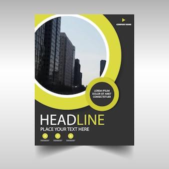 Plantilla amarilla circular profesional de folleto de negocios