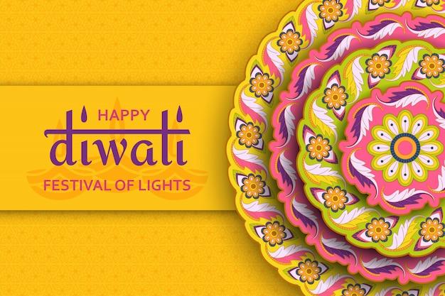 Plantilla amarilla feliz diwali con paisley floral y mandala. festival de luces