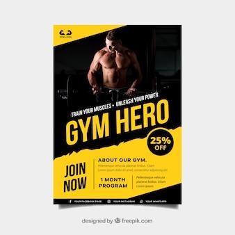 Plantilla amarilla y negra de cover de gimnasio con imagen