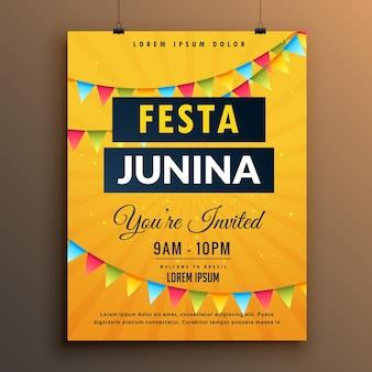 Plantilla amarilla de póster para festa junina