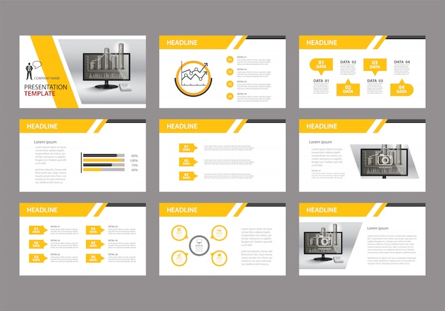 Plantilla amarilla para la presentación de diapositivas en el fondo.