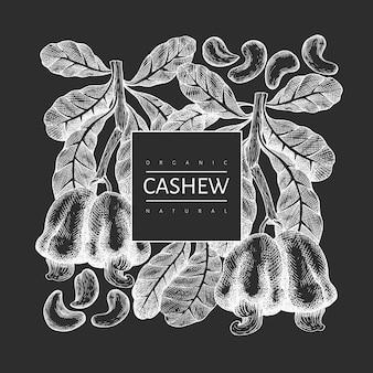 Plantilla de anacardo boceto dibujado a mano. ilustración de alimentos orgánicos en la pizarra. ilustración de nuez vintage. fondo botánico de estilo grabado.