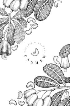 Plantilla de anacardo boceto dibujado a mano. ilustración de alimentos orgánicos sobre fondo blanco. ilustración de nuez vintage. fondo botánico de estilo grabado.