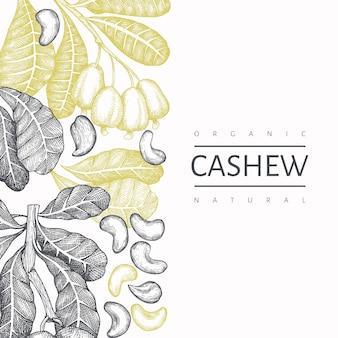 Plantilla de anacardo boceto dibujado a mano. ilustración de alimentos orgánicos sobre fondo blanco.
