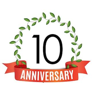 Plantilla de aniversario de 10 años con cinta roja y corona de laurel