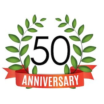 Plantilla de aniversario de 50 años con cinta roja y corona de laurel