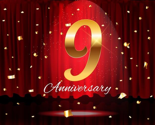 Plantilla de aniversario de oro de 9 años