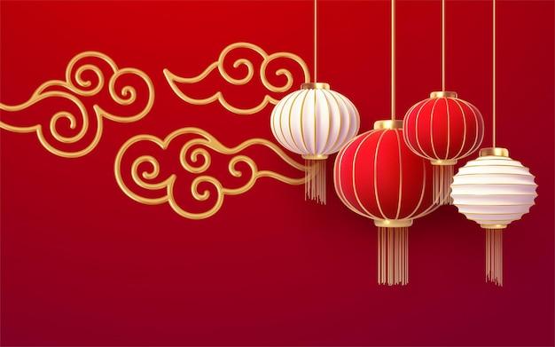 Plantilla de año nuevo chino con linternas rojas y nube dorada sobre fondo rojo.
