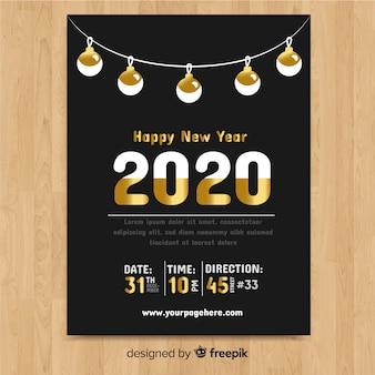 Plantilla de año nuevo con detalles