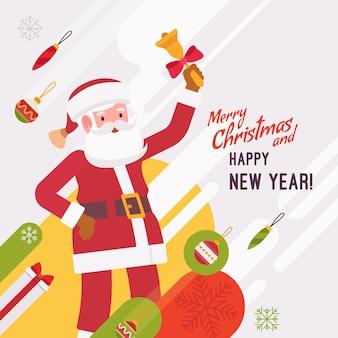Plantilla de año nuevo y tarjeta de navidad