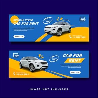 Plantilla de anuncio de banner de portada de facebook de alquiler de coche