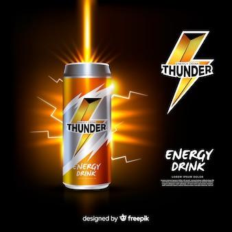 Plantilla de anuncio de bebida energética realista