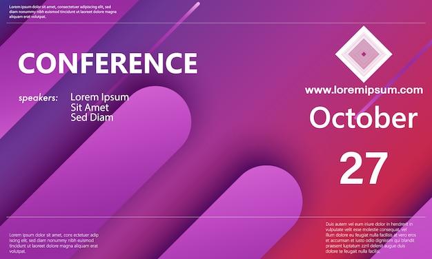Plantilla de anuncio de conferencia. conocimiento de los negocios. conferencia de resúmenes. ilustración de color.