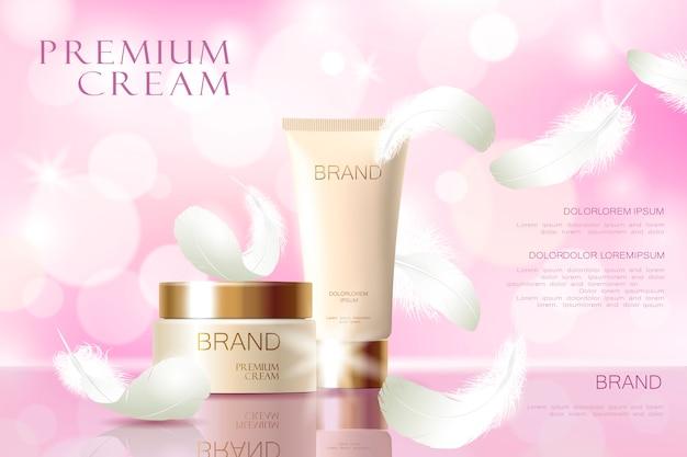 Plantilla de anuncio de crema para el cuidado de la piel 3d realista