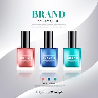 Plantilla de anuncio de esmalte de uñas realista