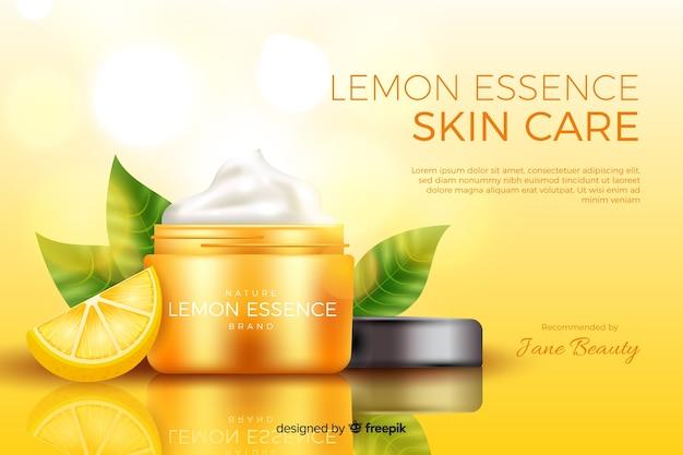 Plantilla de anuncio realista de crema natural