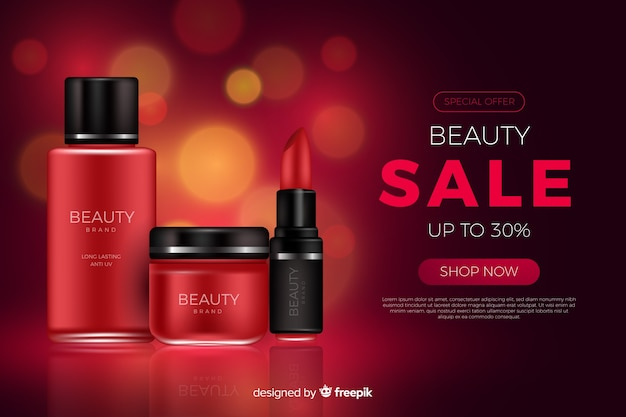 Plantilla de anuncio realista de rebajas de productos de belleza