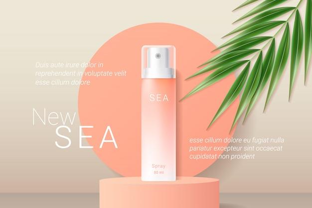 Plantilla de anuncios de aerosol protector solar naranja verano