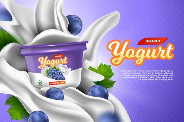 Plantilla de anuncios de alimentos para yogurt