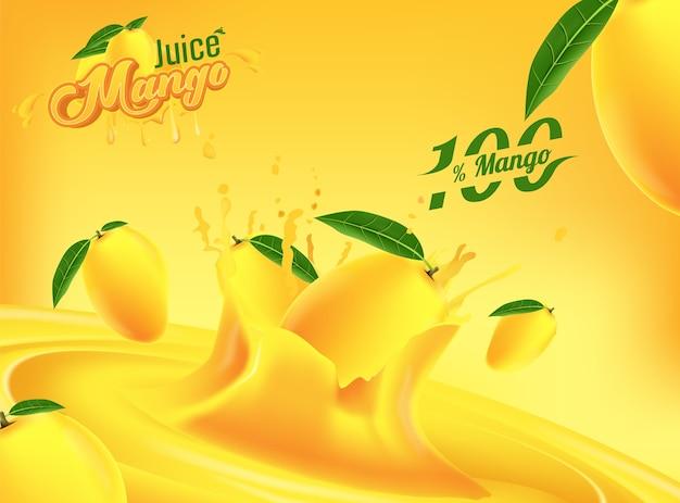 Plantilla de anuncios de banner de publicidad de jugo de mango