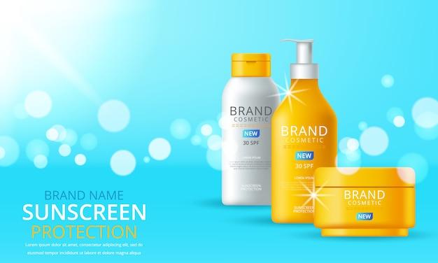 Plantilla de anuncios de bloqueador solar, diseño de productos cosméticos de protección solar