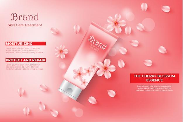 Plantilla de anuncios de cosmética, tubo crema de esencia de flor de cerezo con color rosa.