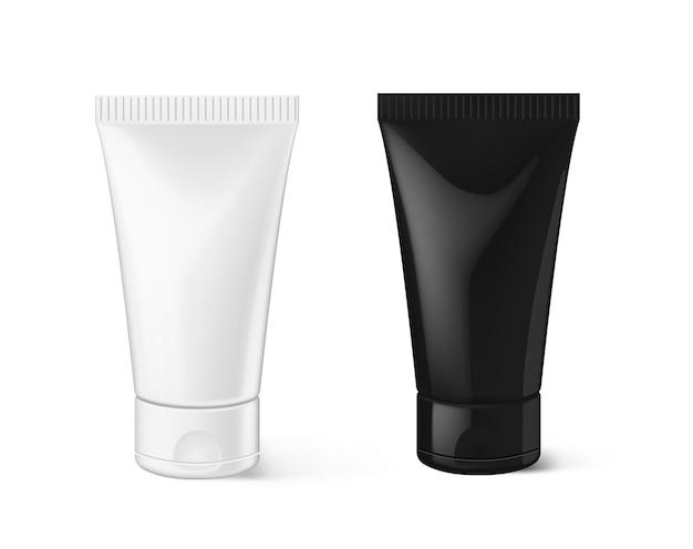 Plantilla de anuncios cosméticos blanco negro