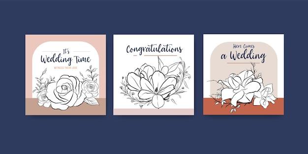 Plantilla de anuncios con diseño de concepto de ceremonia de boda para publicidad y folleto ilustración vectorial.