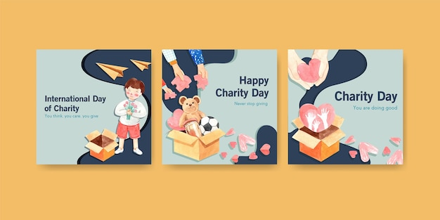 Plantilla de anuncios con diseño de concepto del día internacional de la caridad para acuarela de publicidad y marketing.