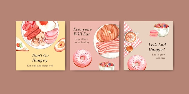 Plantilla de anuncios con diseño de concepto del día mundial de la alimentación para publicidad y marketing de acuarela