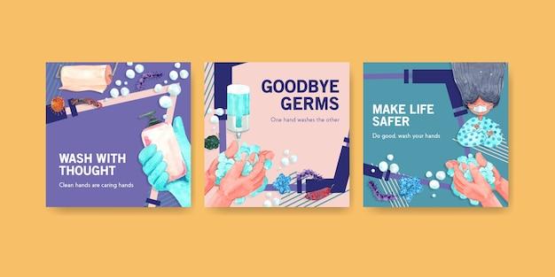 Plantilla de anuncios con diseño de concepto del día mundial del lavado de manos para publicidad y folletos de acuarela