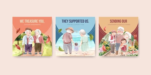 Plantilla de anuncios con diseño de concepto del día nacional de los abuelos para publicidad y marketing de acuarela.