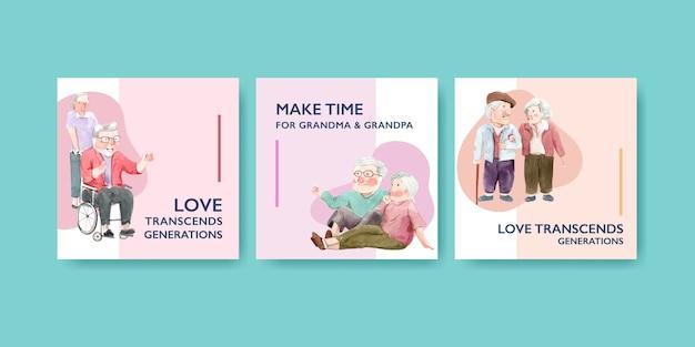 Plantilla de anuncios con diseño de concepto del día nacional de los abuelos