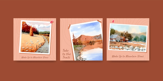Plantilla de anuncios con diseño de paisaje en otoño para publicación de instagram