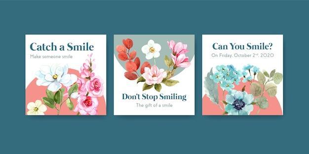 Plantilla de anuncios con diseño de ramo de flores para el concepto del día mundial de la sonrisa para la ilustración de vector de acuarela de marketing.